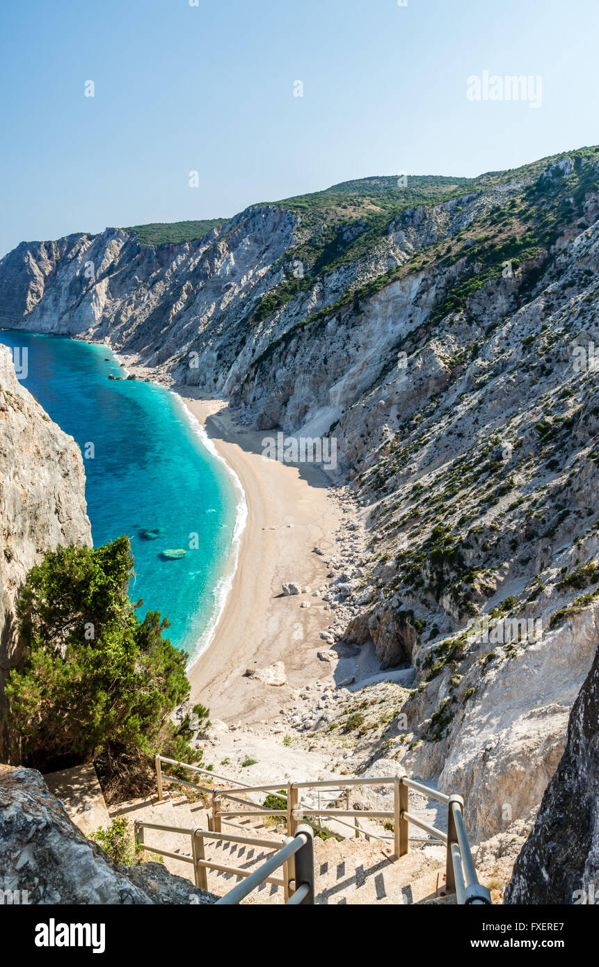 Platia Ammos beach, Kefalonia island, Greece. The beach was affected by the earthquake and it is very difficult - Stock Image