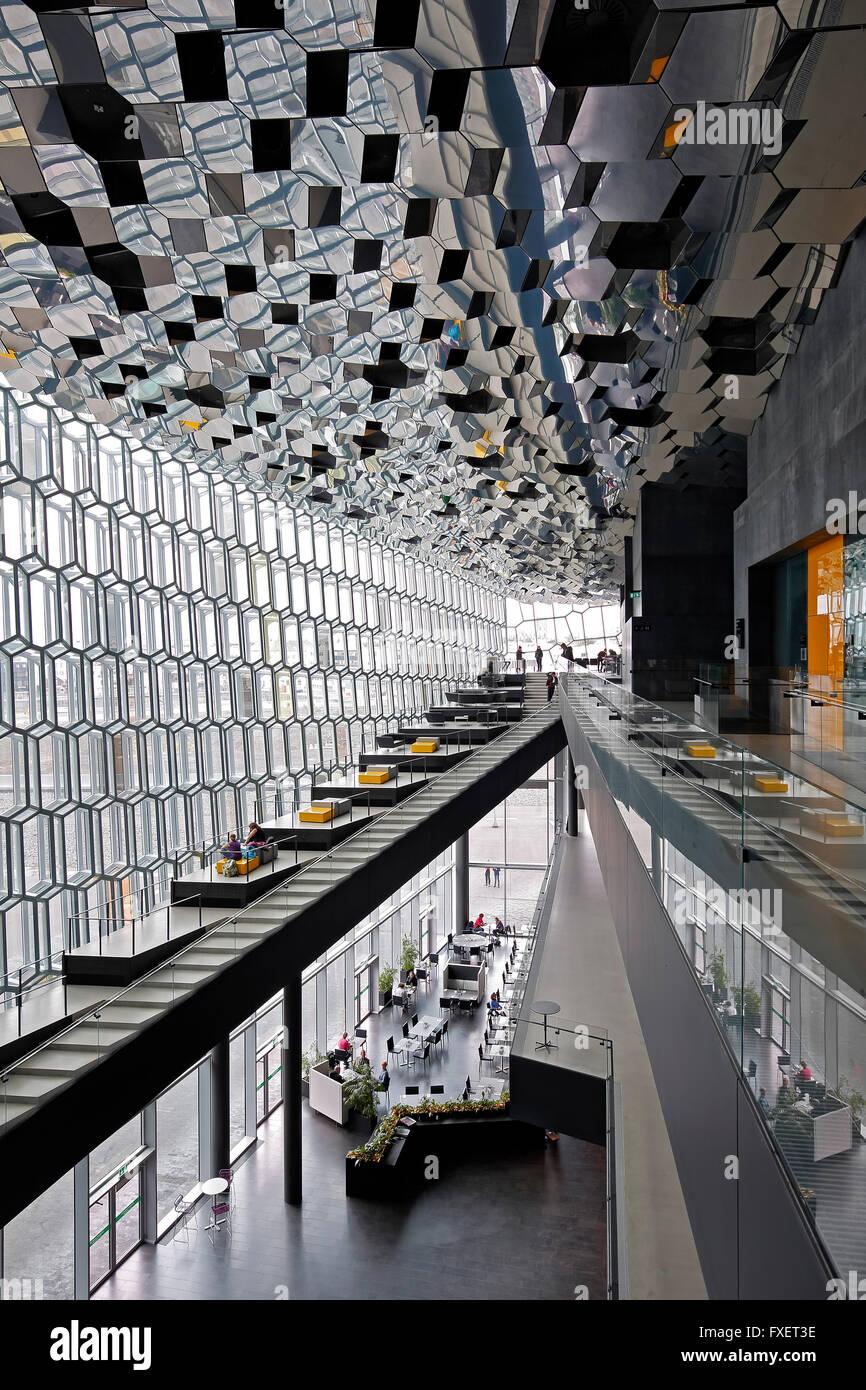 Interior, Harpa Concert Hall and Conference Center, Reykjavik, Iceland - Stock Image