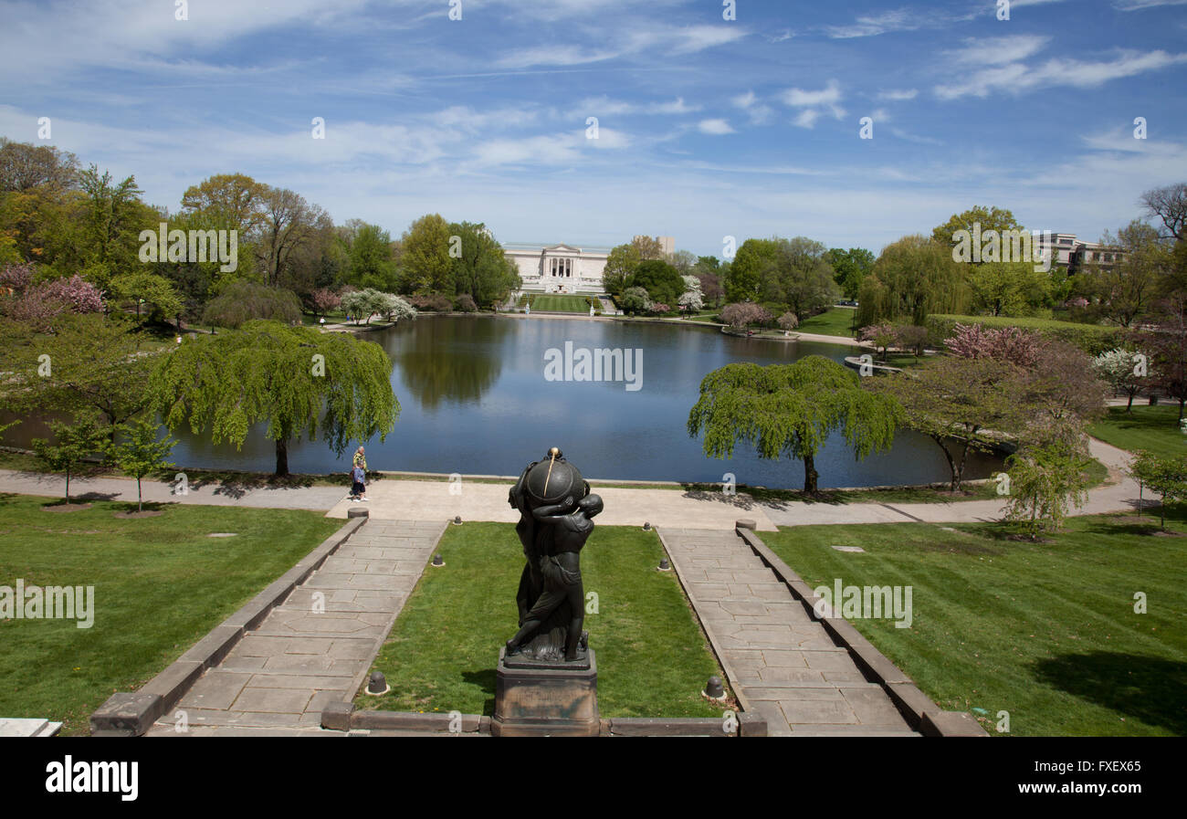 The lagoons in front of the Cleveland Museum of Art in the University Circle area of Cleveland, Ohio Stock Photo