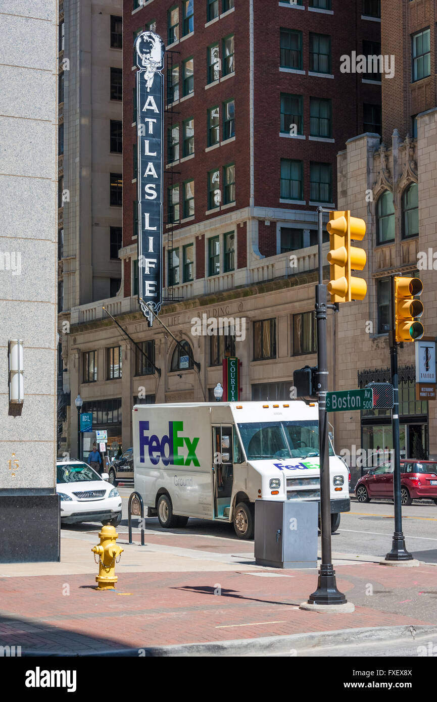 fedex ground delivery truck in downtown tulsa oklahoma usa
