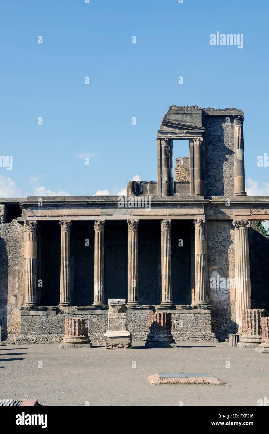 Basilica at Pompeii is the oldest known Roman basilica built in the second century BC - Stock Image