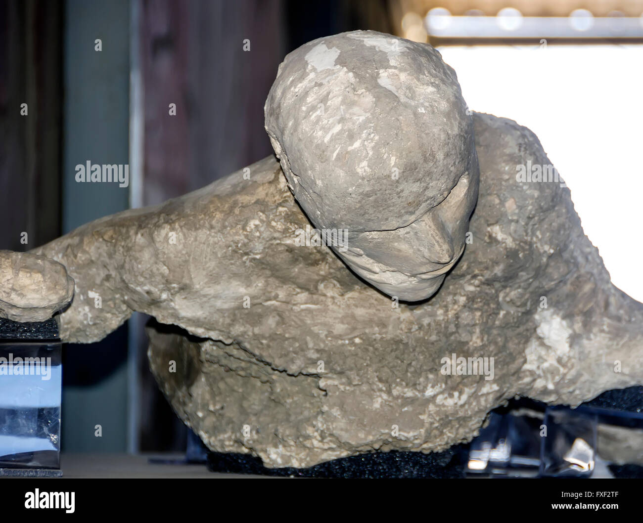 Plaster body cast detail of head and face of victim from Mount Vesuviis eruption 79 AD, Pompeii Italy. - Stock Image