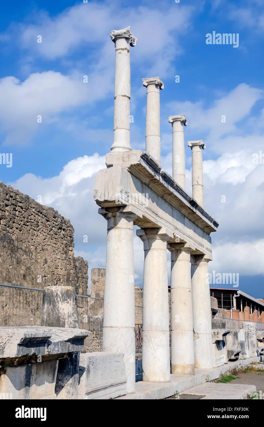 Doric and Corinthian columns in the Roman Forum, Pompeii Italy - Stock Image