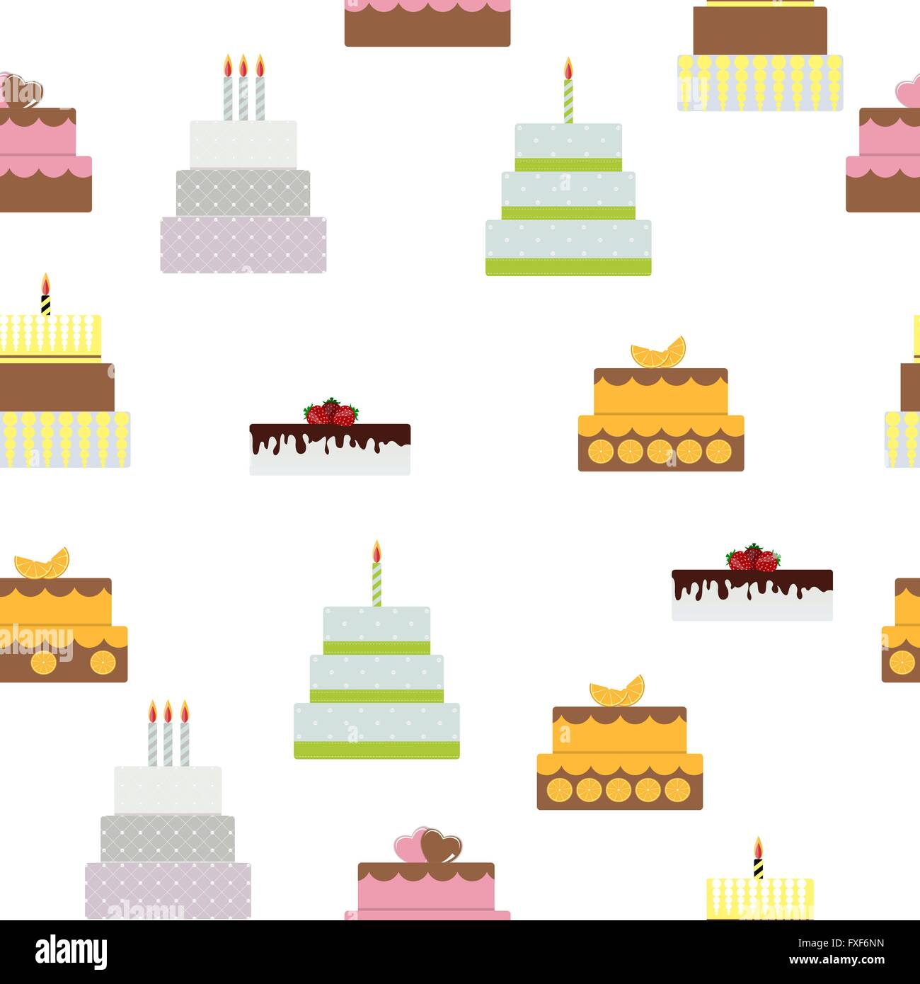 Birthday Cake Flat Icon Seamless Pattern Background For Your Des