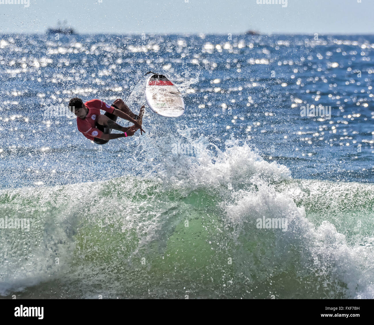 March 6, 2016 : Professional surfer Heitor Alves (BRA) rides a wave during the quarter finals of the annual Australian - Stock Image