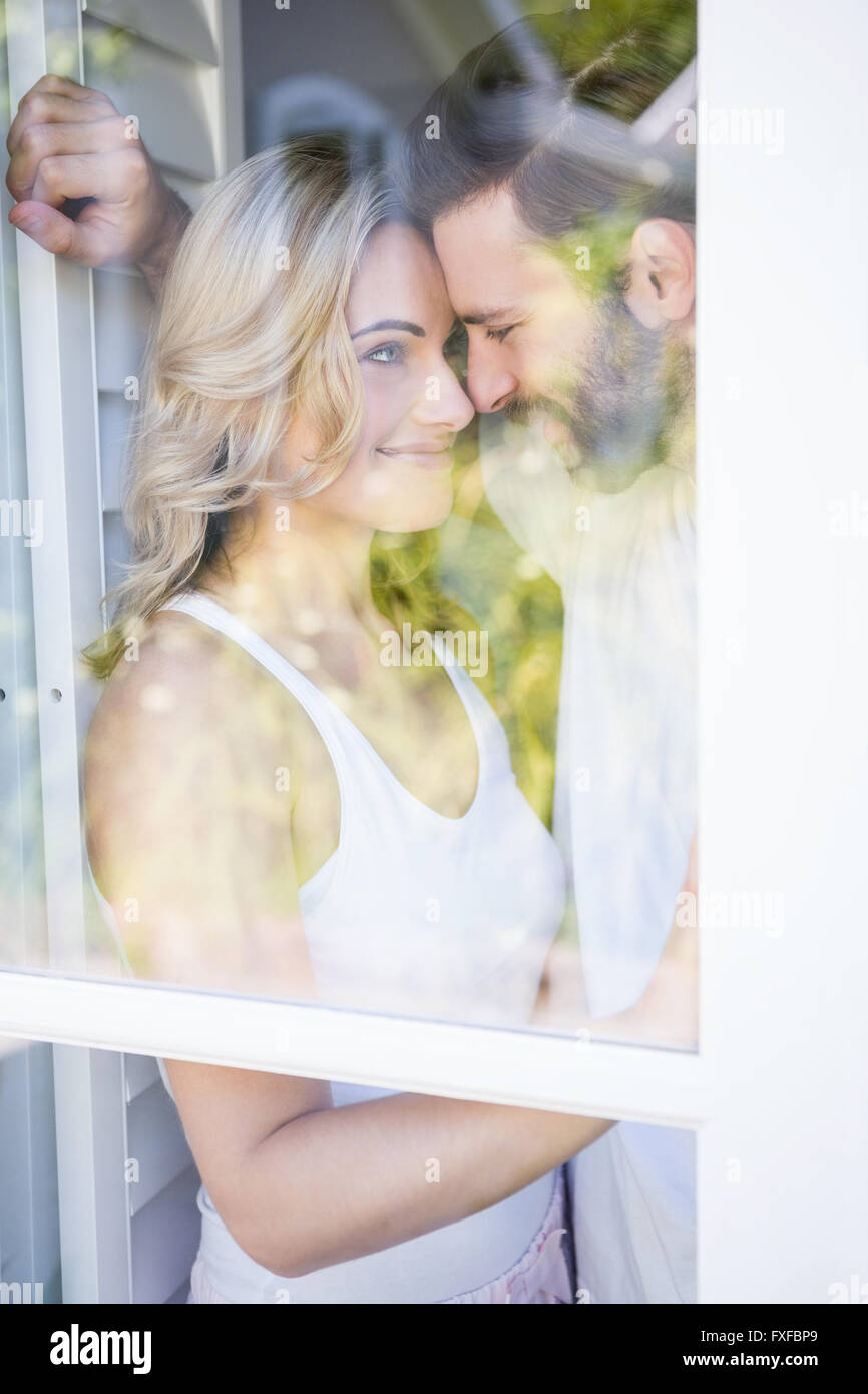 Romantic couple embracing each other - Stock Image