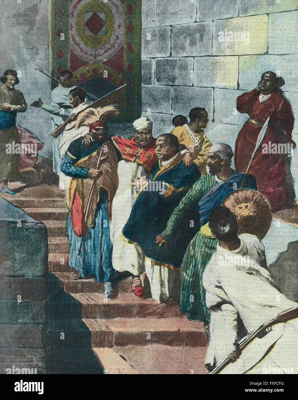 The conflict at the court in Addis Ababa : The old and infirm Menelik is rescued from underground 1913 - Stock Image