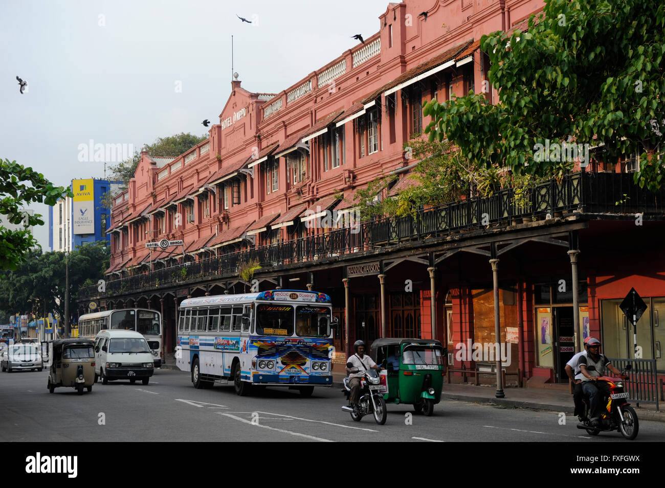 Sri Lanka Colombo, colonial building Manning Mansion, Hotel Nippon and street traffic Stock Photo
