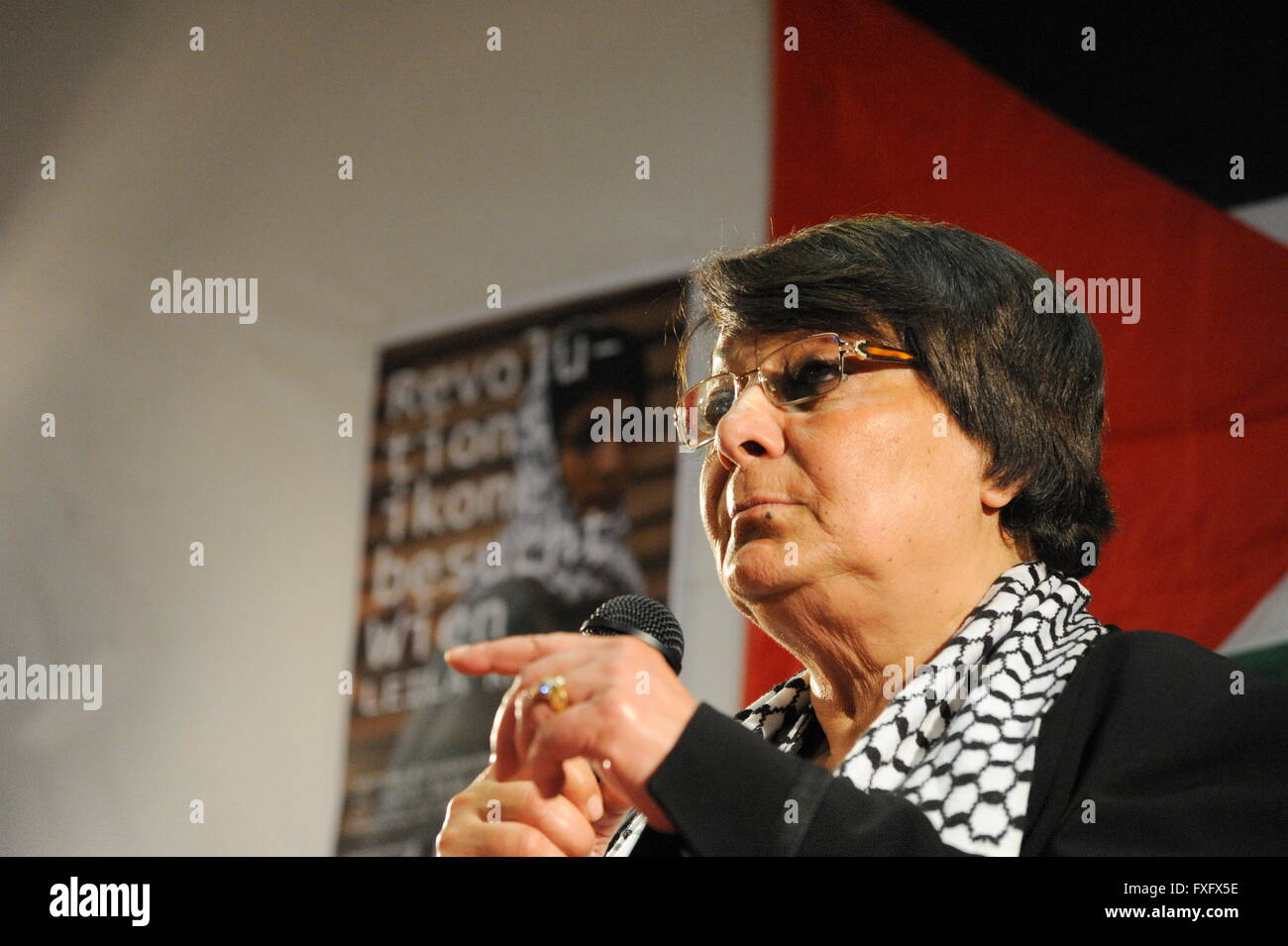 Vienna, Austria. 15th Apr, 2016. Leila Khaled, the Palestinian liberation fighter and international icon of the - Stock Image