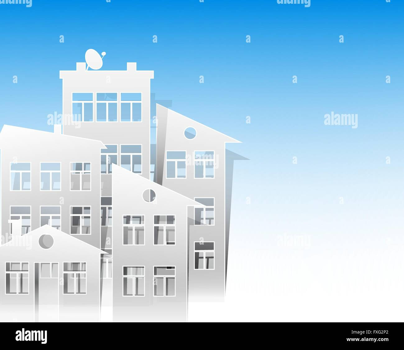 White Houses Paper Cut Out Style As Real Estate Symbols On Light