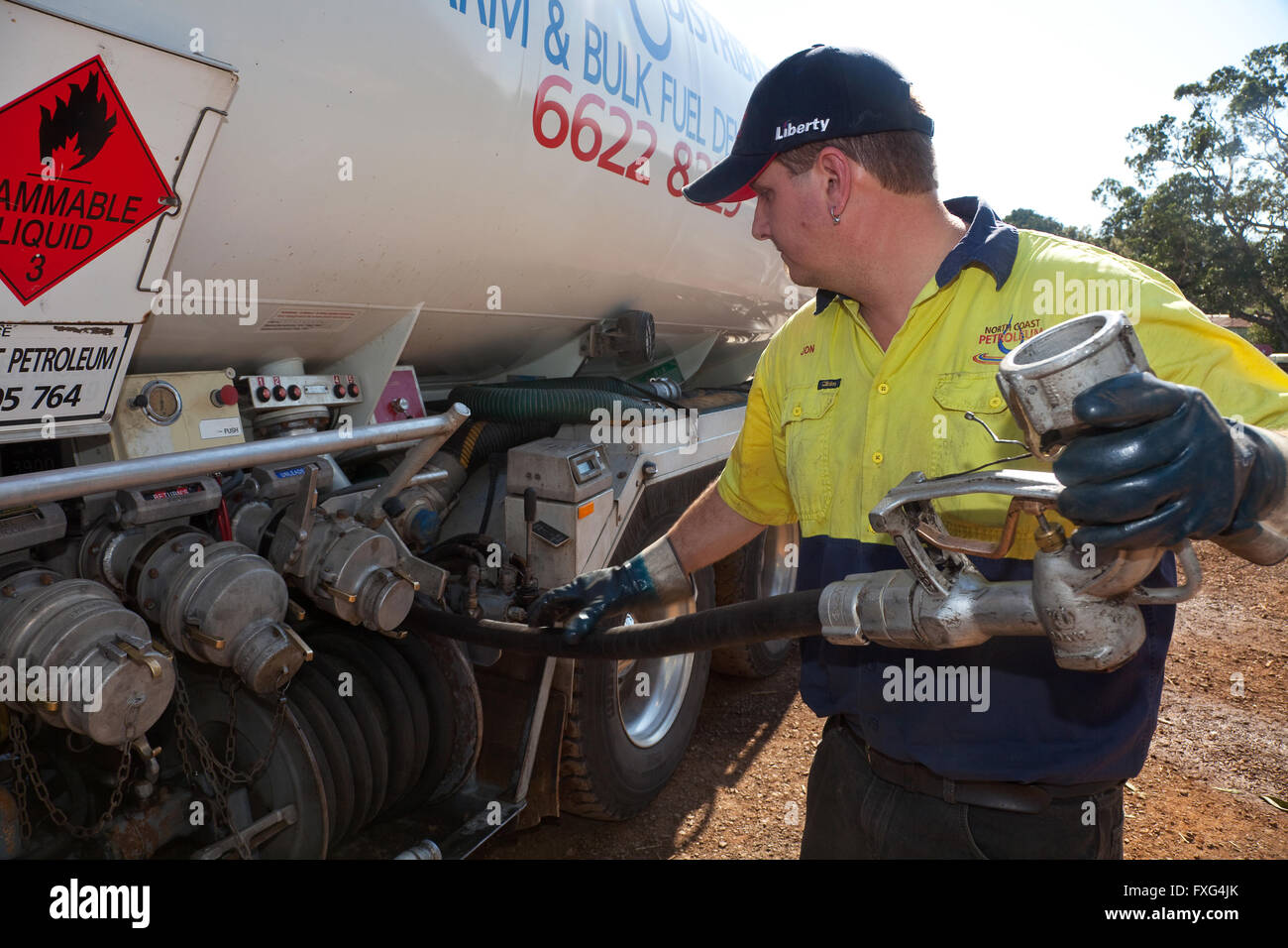 Rural bulk fuel delivery by tanker, Lismore, NSW, Australia - Stock Image