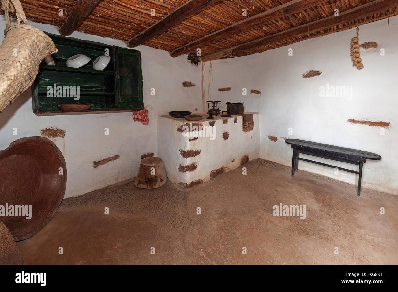 Kitchen, fire place in the open-air museum, Museum Village Ecomuseo de la Alcogida, Tefia, Fuerteventura, Canary - Stock Image