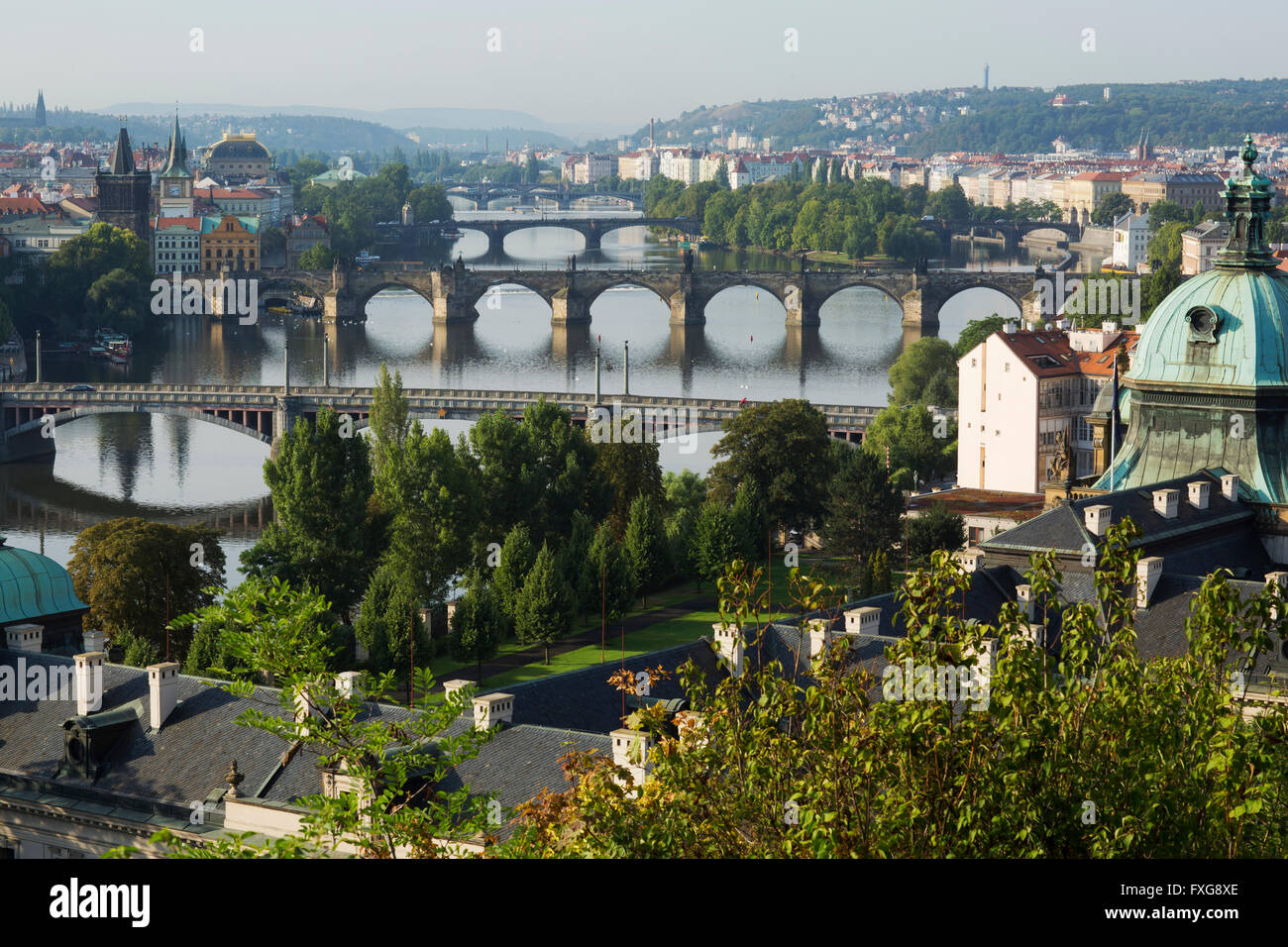 View from Letna Hill over the Vltava River bridges to the historic centre with bridge tower, Prague, Czech Republic Stock Photo