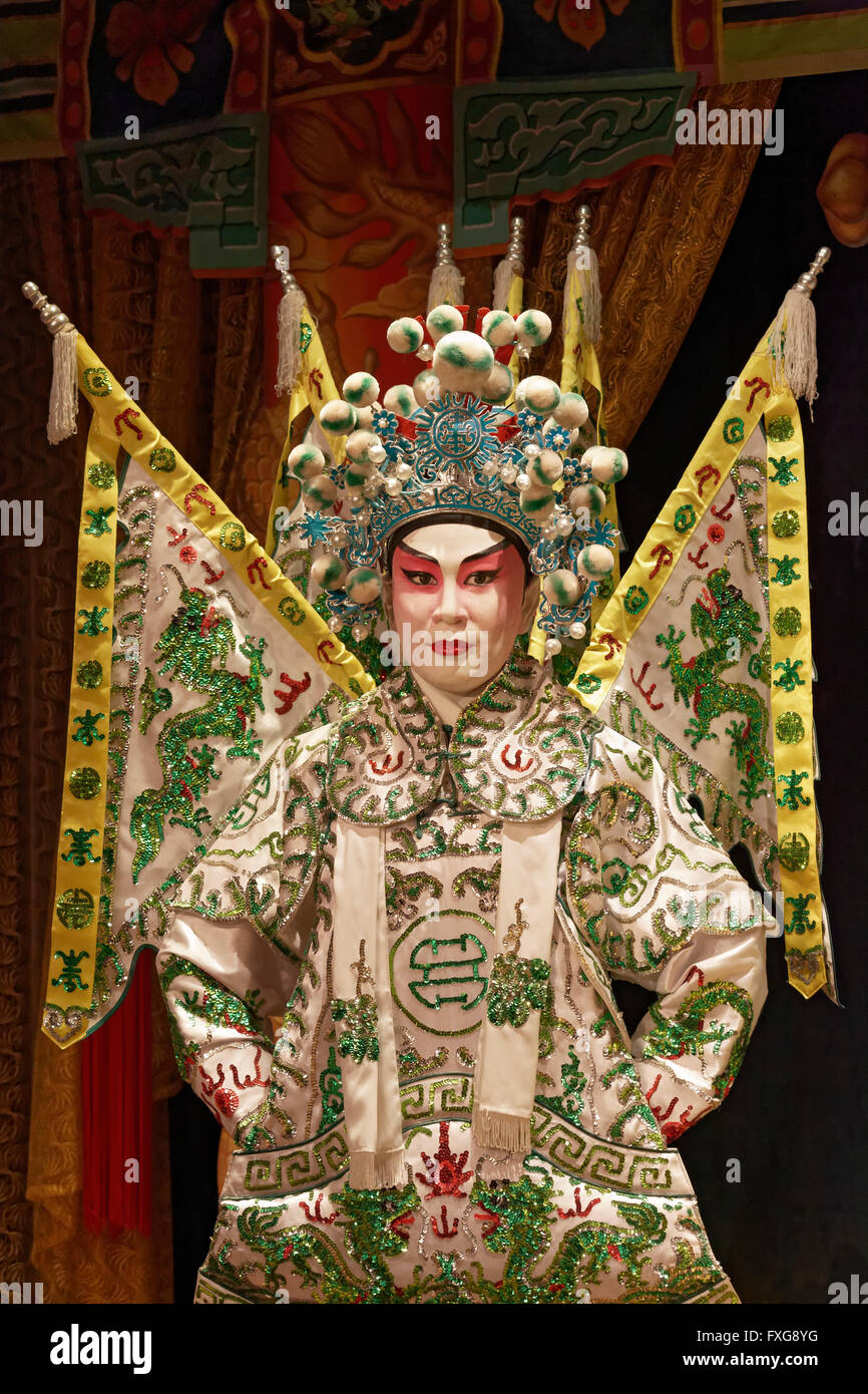 Costumed doll, Marshal of the Six Kingdoms, character of the Cantonese opera, Cantonese Opera Heritage Hall - Stock Image