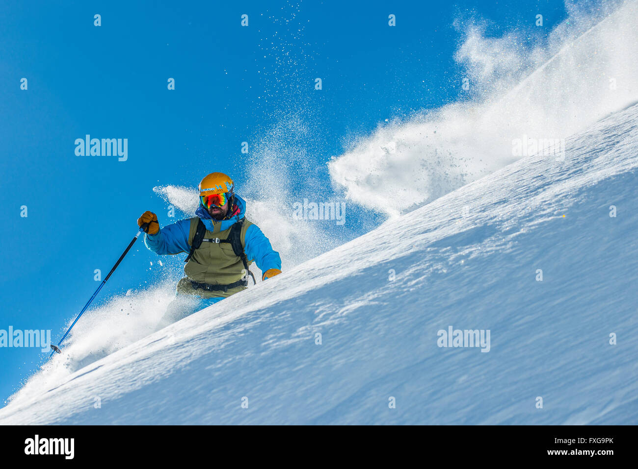 Off piste skiing in the French resort of Courchevel. - Stock Image
