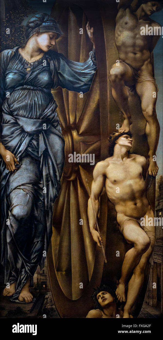 The Wheel of Fortune, by Edward Burne-Jones, circa 1875-1883, Musee D'Orsay Art Gallery, Paris, France, Europe - Stock Image