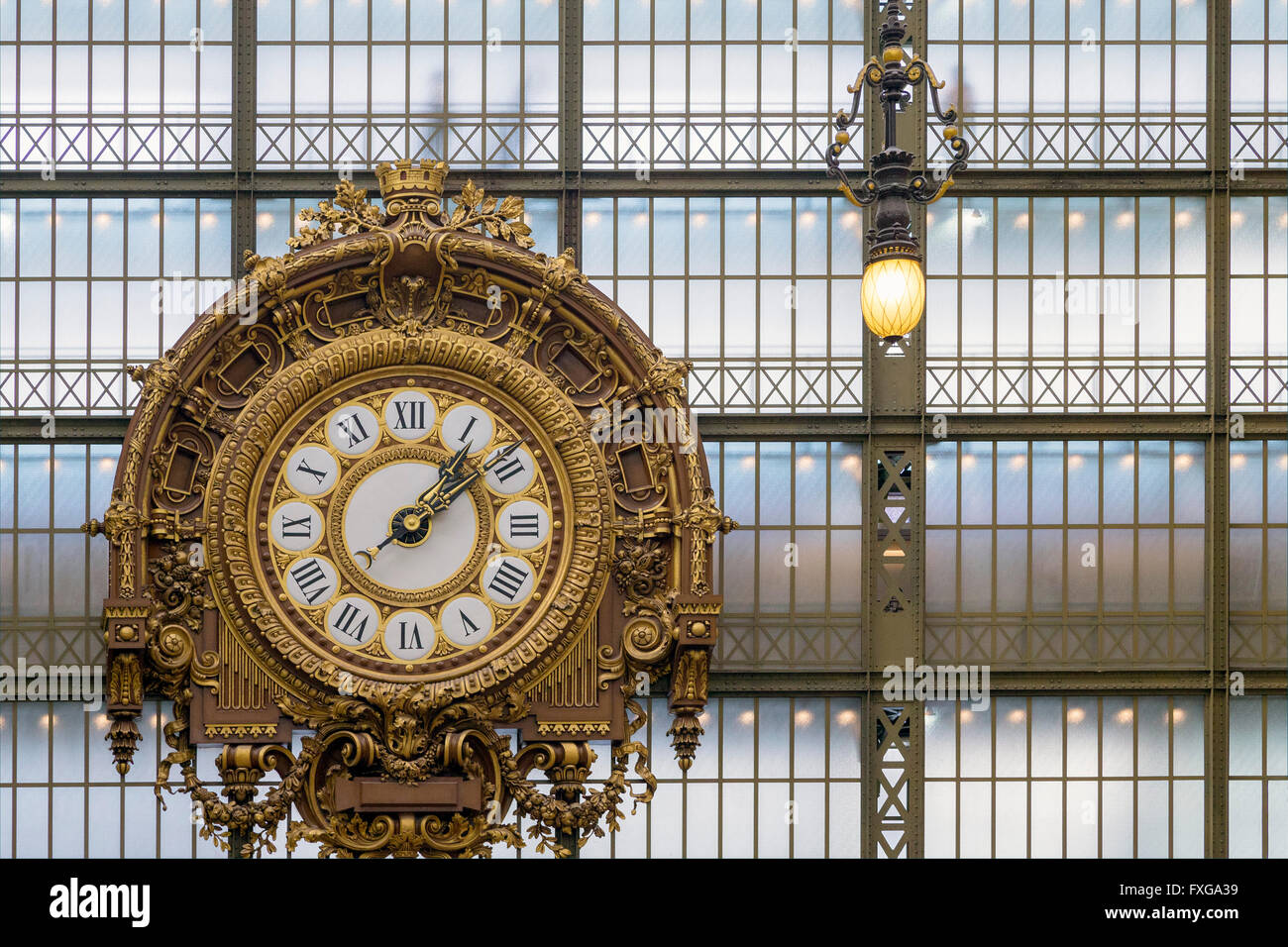 The Great Clock, interior of Musee D'Orsay Art Gallery, Paris, France, Europe - Stock Image