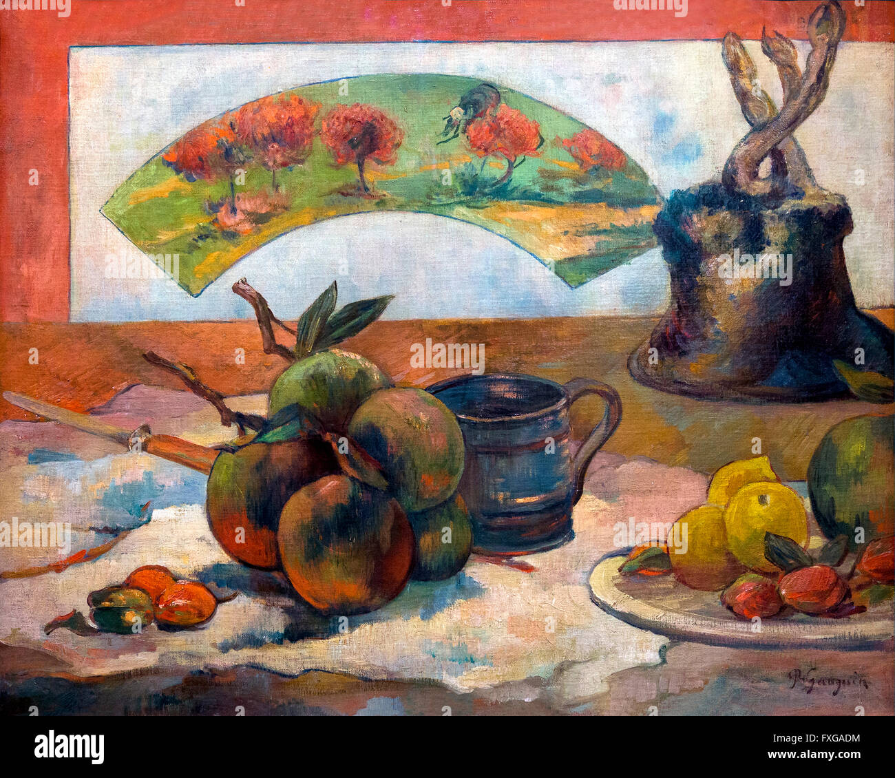 Still-life with fan, Nature Morte a l'eventail, by Paul Gauguin, 1889,Musee D'Orsay, Paris, France, Europe - Stock Image