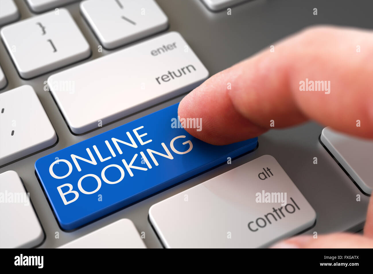 Online Booking on Keyboard Key Concept. - Stock Image