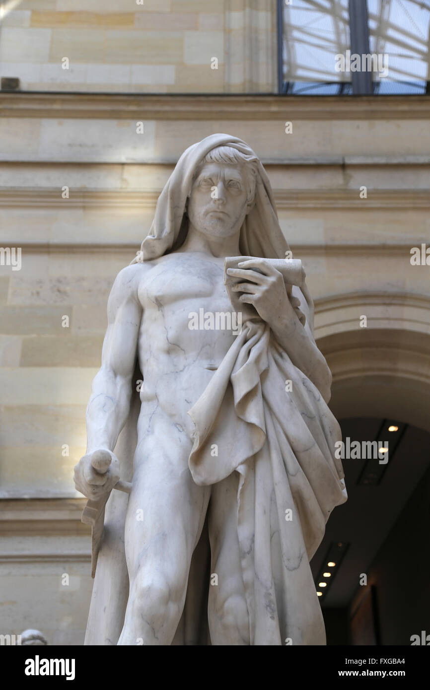 Cato the Younger (95-46 BC). Roman politician. Statue of Cato Kill himself while reading the Phaedo. By Jean Baptiste - Stock Image