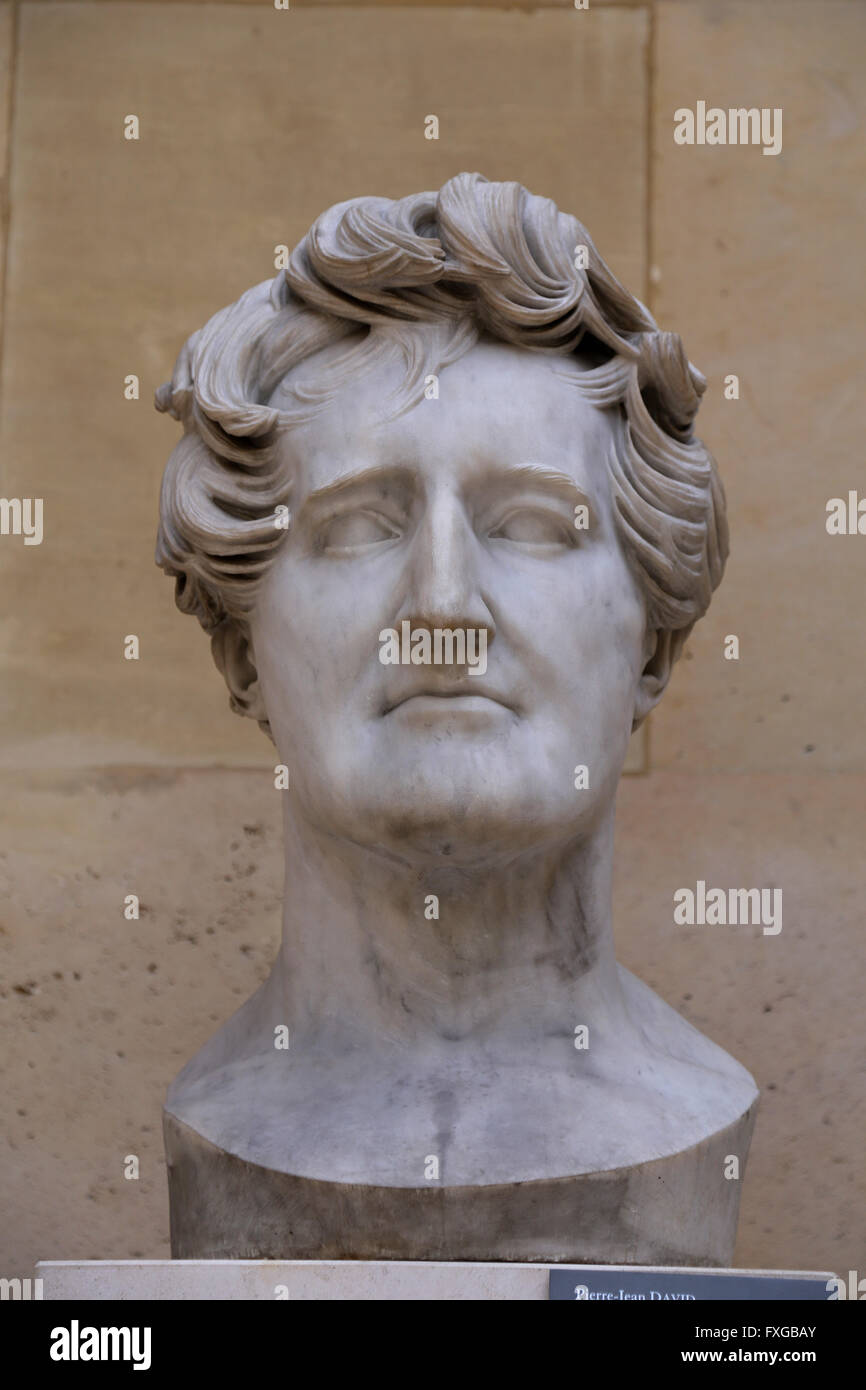 George Cuvier (1769-1832). The Father of paleontology. Bust by David D'Angers (1788-1856) marble, 1833. Louvre - Stock Image