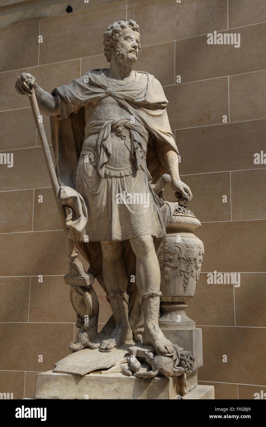 Hannibal Barca (247-181 BC). Punic military commander from Carthage. Statue by Sebastien Slodtz (1655-1726), 1704. - Stock Image