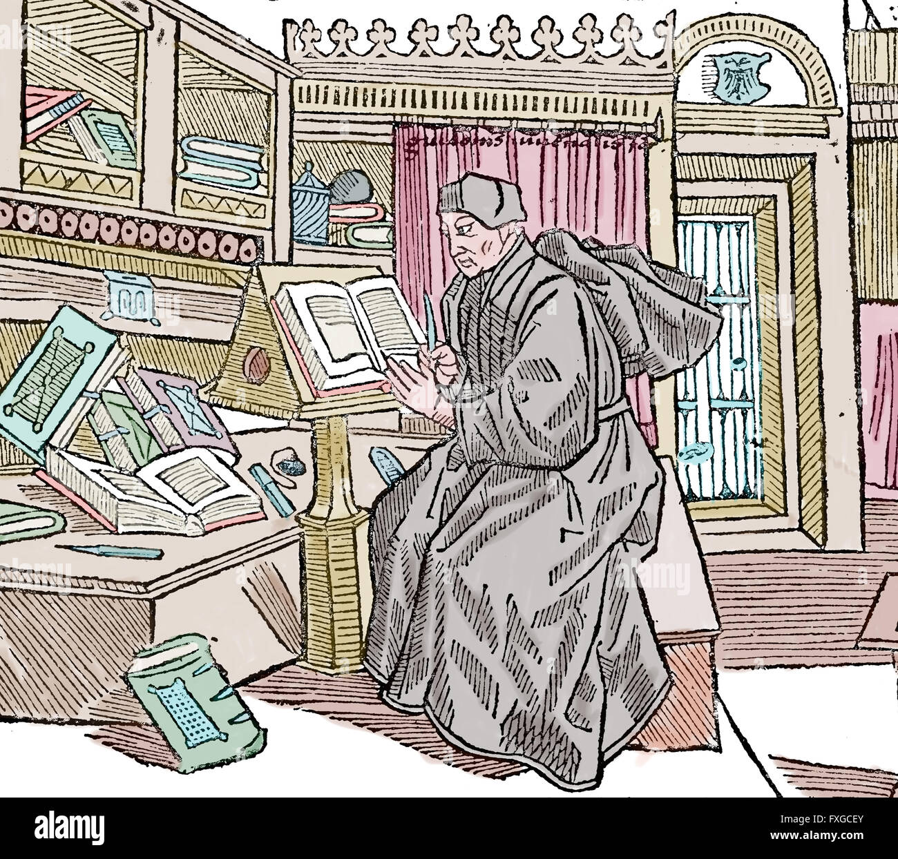 Middle Ages. Scriptorium monk at work. Engraving. Colored. - Stock Image