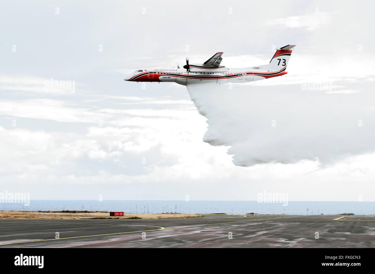 DASH 8 aircraft of the French Civil Security - Stock Image