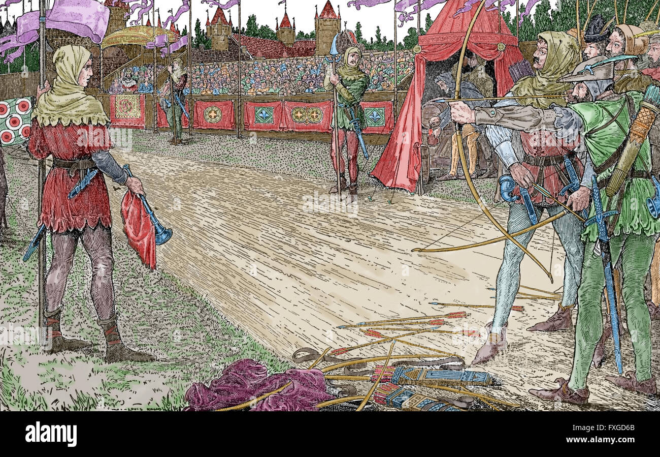 Robin Hood. Heroic outlaw in English folklore. Archer and swordsman. Robin Hood Wins Queen Eleanor's Price. - Stock Image