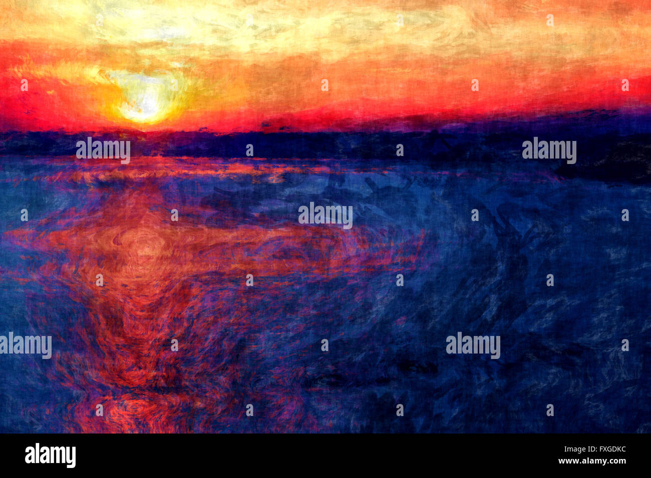 sunset painting impressionism, amazing sunset scene brush painting, sun light reflection, evening sun, impressionism - Stock Image