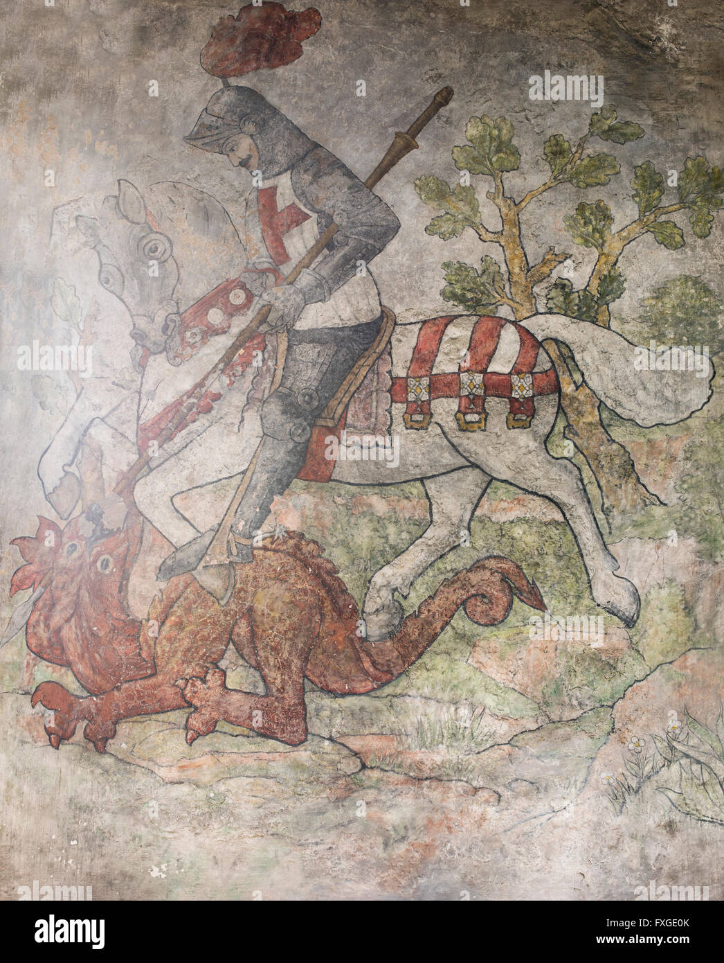 The restored medieval wall painting of St. George slaying the dragon, St. Gregory's Church, Bedale, North Yorkshire, Stock Photo