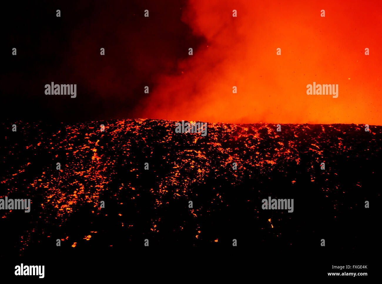 the newly erupting Nyamulagira  volcano in the Virunga National Park in the Democratic Republic of Congo. - Stock Image