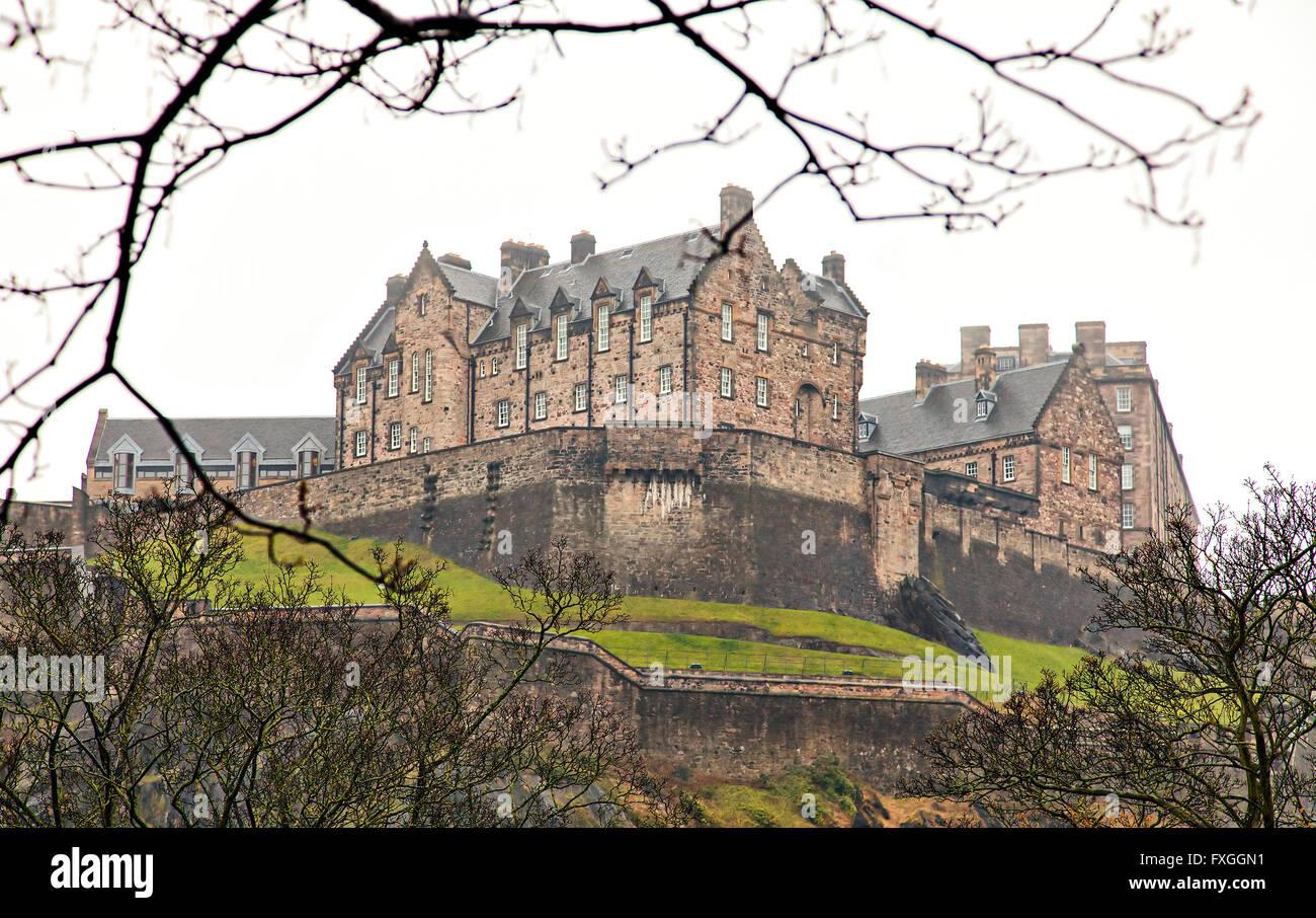 Image of Edinburgh castle in Scotland. Some noise. - Stock Image