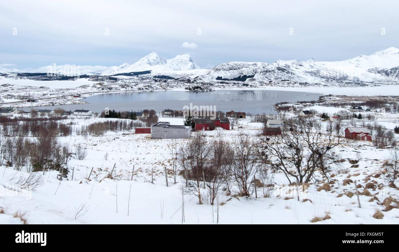 Vestvagoy Island winter landscape panorama on Lofoten Islands, Norway - Stock Image