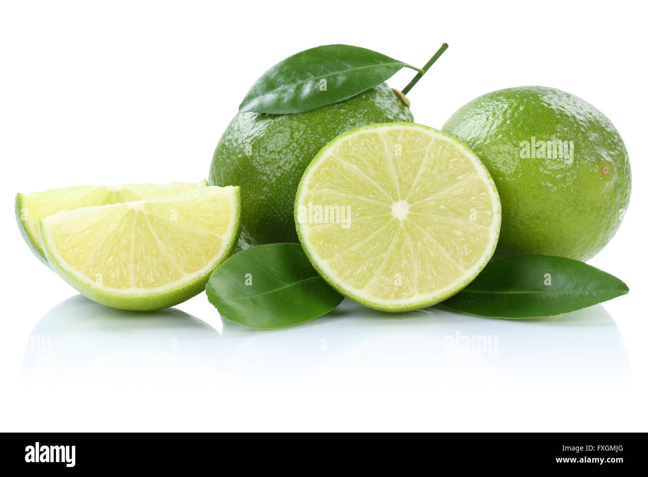 Lime limes fruits isolated on a white background - Stock Image