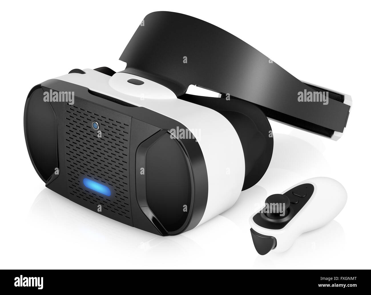 VR virtual reality headset half turned with game controller isolated on white background. VR is the future of gaming. - Stock Image