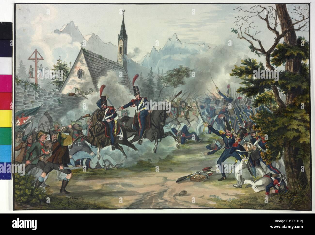 Gefecht zwischen französischen Soldaten und Tiroler Bauern - Stock Image