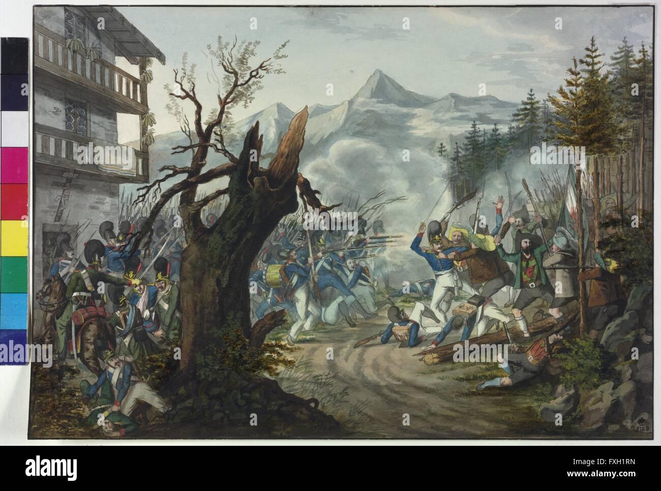 Gefecht zwischen bayrischen Soldaten und Tiroler Bauern - Stock Image
