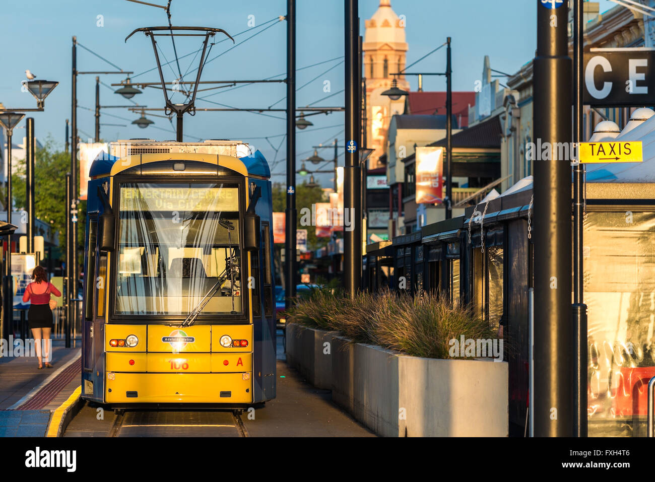 Adelaide, Australia - October 5, 2013: Tram at Moseley Square stop ready to depart towards Adelaide city. Stock Photo