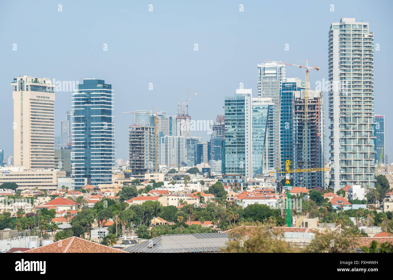 View from Abrasha park, Tel Aviv, Israel with Shalom Meir Tower (1L), 1 Rothschild Boulevard (2L), Neve Tzedek Tower - Stock Image