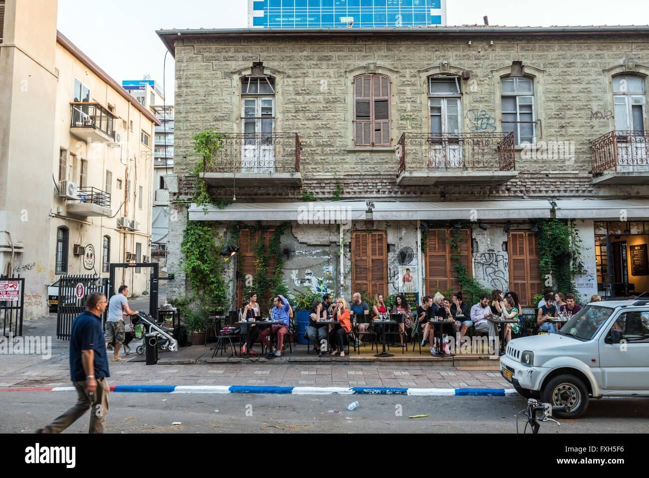 Restaurant at Rothschild Boulevard in Tel Aviv city, Israel - Stock Image