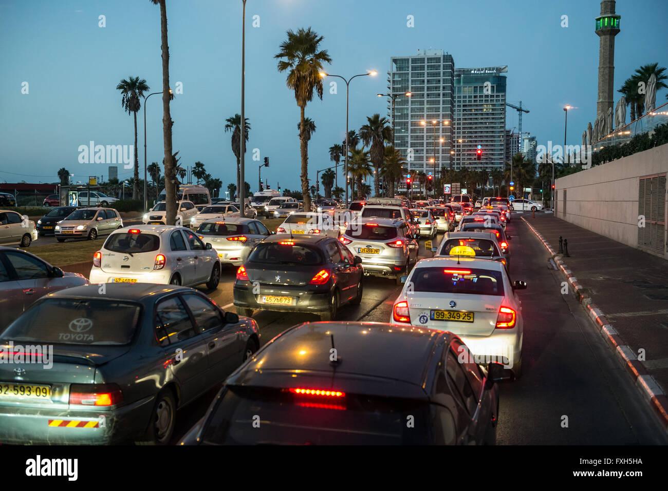 Evening Traffic At HaYarkon Street In Tel Aviv City Israel View