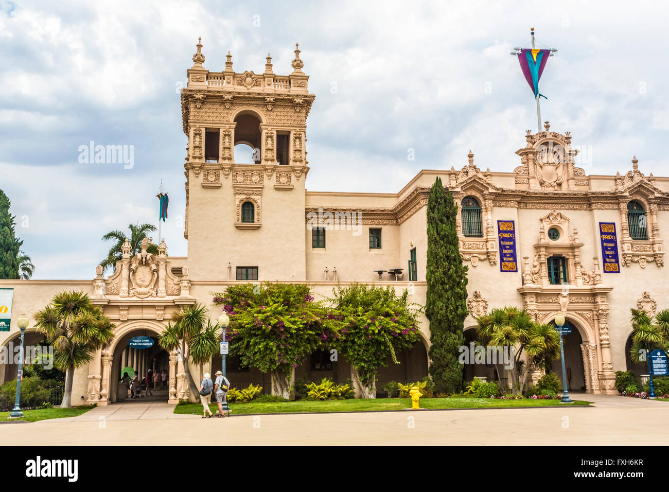 spanish style architecture buildings in balboa park san diego Stock