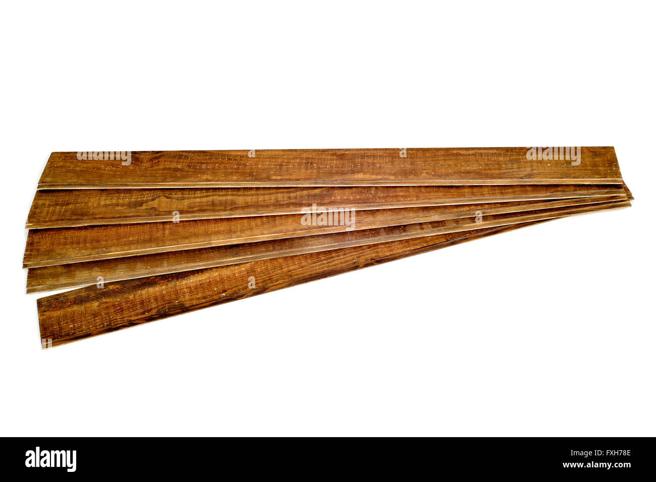 some rustic wooden planks on a white background - Stock Image