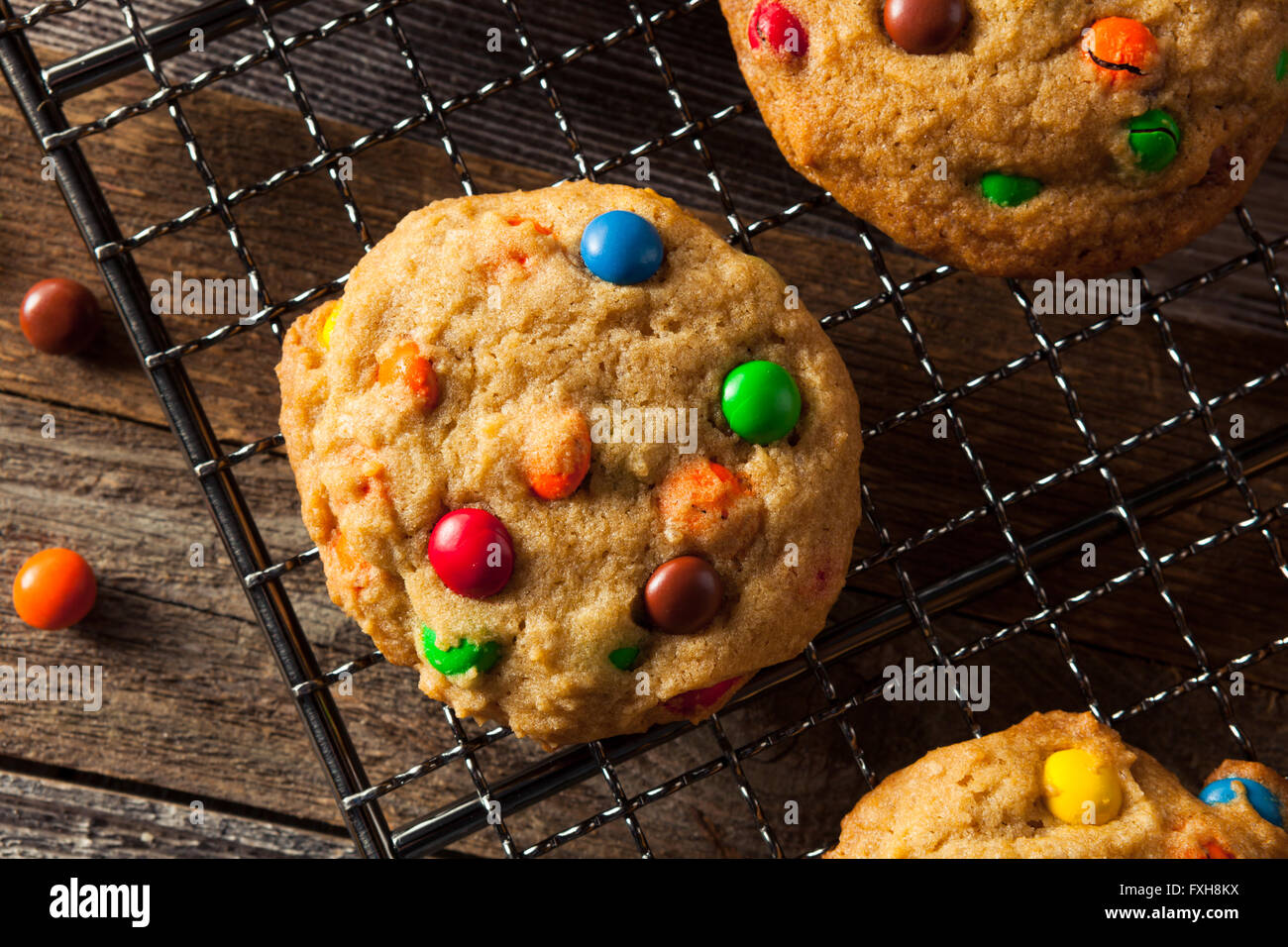 Homemade Candy Coated Chocolate Chip Cookies Ready to Eat Stock Photo