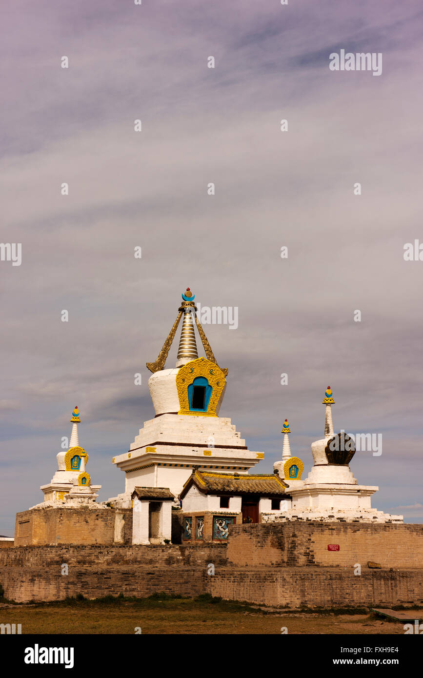 Buildings at the Erdene Zuu Monastery, part of the UNESCO Orkhon Valley Cultural Landscape World Heritage Site. - Stock Image