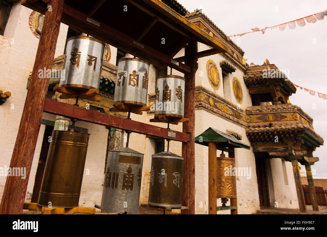 Prayer wheels at the Erdene Zuu Monastery. - Stock Image