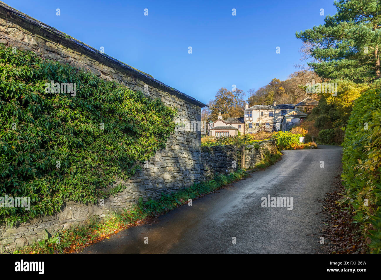 Brantwood House on the side of Lake Coniston in the lake district. Home of John Ruskin. North West England. - Stock Image