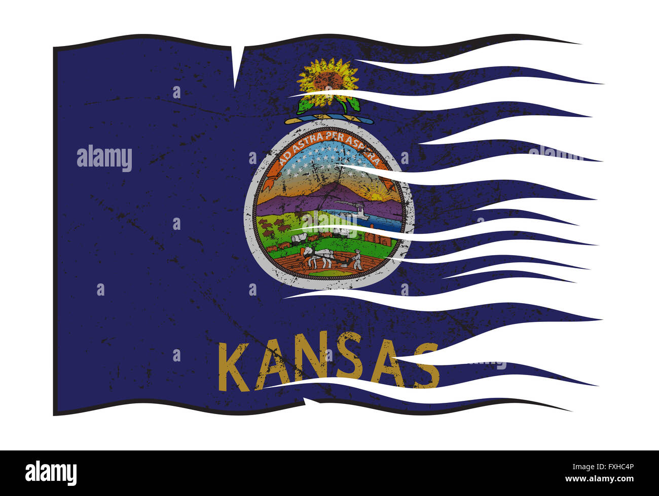 a wavy and grunged kansas state flag isolated on a white background