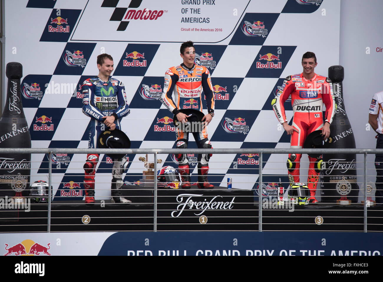 Marc Marquez , Jorge Lorenzo and Andrea Iannone on the podium after the 2016 MotoGP Red Bull Grand Prix of the Americas Stock Photo